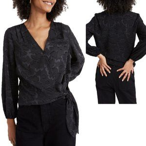MADEWELL Black Floral Jacquard Wrap Blouse